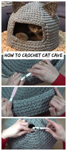 How To Crochet Cat Cave - Crochetopedia Knitting For BeginnersKnitting For KidsCrochet ProjectsCrochet Amigurumi Crochet Simple, Easy Crochet Patterns, Knitting Patterns, Crochet Ideas, Stitch Crochet, Crochet Stitches, Chat Crochet, Cat Cave Crochet Pattern, Diy Crochet Cat Bed