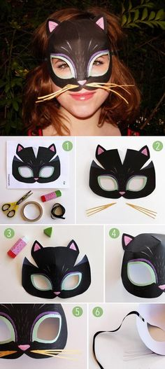 Miaow! Make your own cat mask with printable template and tutorial at https://happythought.co.uk/templates/easy-printable-animal-masks