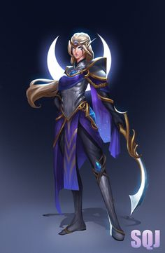 Diana——League of legend fan art, Steve Zheng Lol League Of Legends, League Of Legends Characters, Cosplay Characters, Fantasy Characters, Female Characters, Starcraft, Game Character, Character Design, Ideas
