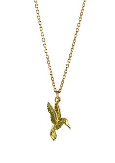 Gold plated necklace featuring a beautiful and dainty hummingbird. Hummingbird, Plating, Gold Necklace, Beautiful, Jewelry, Jewels, Schmuck, Hummingbirds, Jewerly