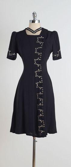 Black Wraith . vintage 1940s dress . vintage by millstreetvintage
