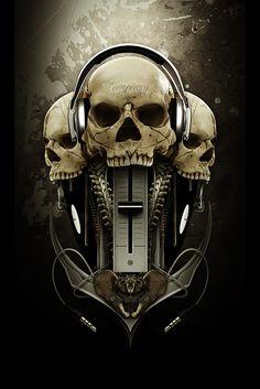 Surreal Cyberpunk Art by Conzpiracy Digital Arts Crane, Skull Headphones, Badass Skulls, Skull Pictures, Skull Artwork, Skull Wallpaper, Art Et Illustration, Cyberpunk Art, Skull Design