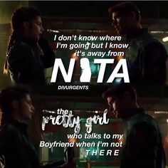 Get away Nita. FOURTRIS FOREVER!!!! Divergent Hunger Games, Divergent Fandom, Divergent Trilogy, Divergent Insurgent Allegiant, Tfios, Tris And Four, Fan Theories, Truth And Lies, Veronica Roth