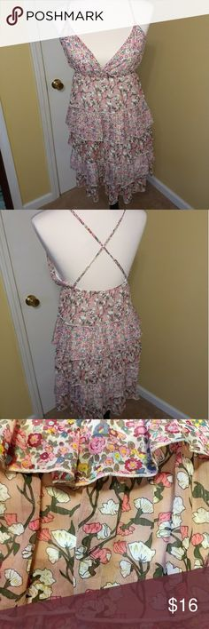 Wet seal halter top ruffle dress sz medium Very cute wet seal dress. It has halter top with spaghetti straps that criss cross in back and 5 layers of ruffles down the skirt. Ruffles are different patterns. Size is medium. Like new and no flaws Wet Seal Dresses Midi