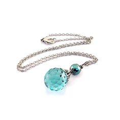 Aqua Briolette Necklace Turquoise Faceted Onion by CinLynnBoutique, $28.00  Love!