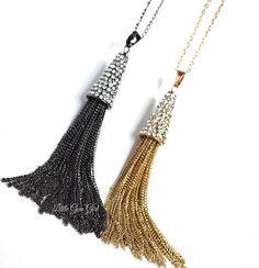 Gunmetal or Gold Chain Tassel Necklace Long Pave Rhinestone