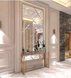 Home Room Design, Home Interior Design, Living Room Designs, Mirror Decor Living Room, Neoclassical Interior, Halls, House Ceiling Design, Home Entrance Decor, Hallway Designs