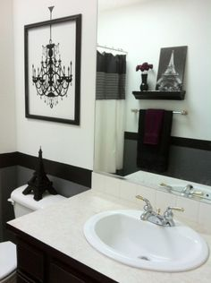 Chic Teen Black and White Bathroom, Small bathroom, Framed wall decal, Bathrooms Design