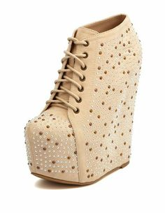 Studded Lace-Up Wedge Bootie: Charlotte Russe