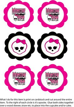 Could use these to decorate favor bags Cupcake Top, Monster High, Party Decorations - Free Printable Ideas ...
