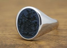 CUSTOM OVAL SIGNET RING MAN, STONE 15x12 MM  Custom Oval Signet Ring with hand engraved Semi Precious Gem Stone, size 15x12mm. The stone can be Hats For Men, Man Hats, Custom Signet Ring, Ring Bear, Poison Ring, Family Jewels, Gentleman, Coat Of Arms, Hand Engraving