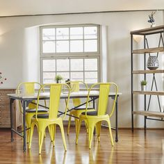 Get the #industrial look with a rustic metal & wood table and powder coated dining chairs! This Brent dining set is available on our site now!    #interior #interiordesign #home #decor #dining #yellow #wood #manchester #property #furniture #style #apartment #modern