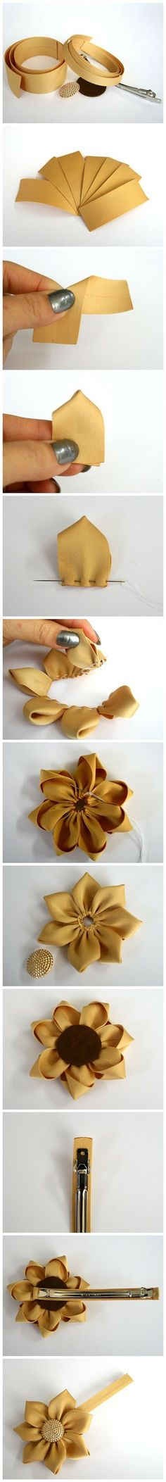 DIY Sunflower hair pin. Needle, thread, fabric, snap clip, circular front and backing.