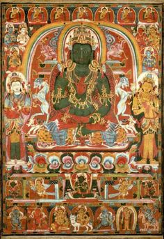 Amoghasiddhi of the Complete Removal of All Unfortunate Rebirths,thangka, Tibet. Buddha Buddhism, Tibetan Buddhism, Buddhist Art, Le Tibet, Buddha Artwork, Thangka Painting, Tibetan Art, Oriental, Art And Architecture