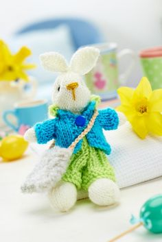 Bramble Bunny and Outfits FREE KNITTING PATTERN - this cute little bunny pattern comes with several different outfit patterns suitable for boys and girls
