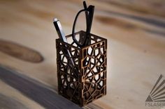 Laser Cut Geometric Pencil Holder: 3 Steps (with Pictures) Laser Cutter Ideas, Laser Cutter Projects, Cnc Projects, Cnc Plasma, Plasma Cutting, Pencil Holder, Pen Holders, Lazer Cutter, Gravure Laser