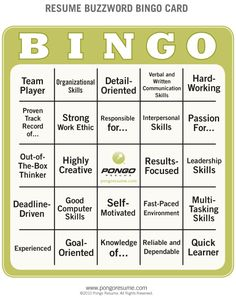 The squares on this Resume Buzzword Bingo Card are filled with common expressions that are seen over and over on job candidates' resumes. Cv Tips, Resume Tips, Sample Resume, Buzzword Bingo, Resume Action Words, Great Resumes, Best Resume Template, Looking For People, Bingo Cards