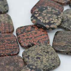 Stone Beads - 30 mm Square - Mexican Red Snowflake Jasper