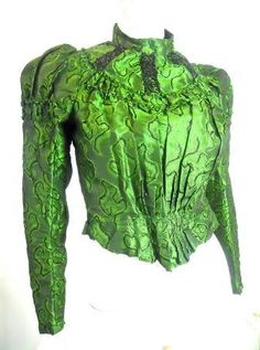 ON LAYAWAY Bottle Green Silk Bodice circa late 1800s - Dorothea's Closet Vintage
