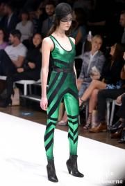 The delightful Courtney Flanagan wears our emerald green Foil Flapper Dot Leggings and Bodysuit with our perforated black leather belt and Nocturne Bootie collab with Preston Zly on the #MSFW runway, Sep 2, 2015. Mesh Cap by Ann Shoebridge. Image from Style Melbourne. Photography by Edy Lianto