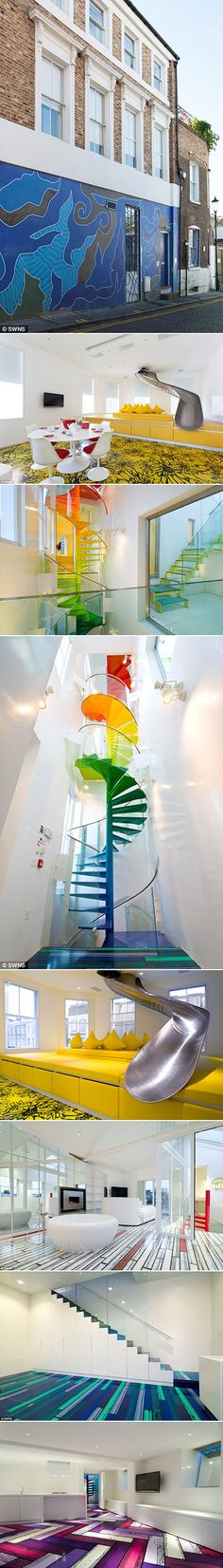 One of Britain's most fun homes, where you enter the living room through a slide, has been put on the rental market for £15,000 a month. The Rainbow House was a classical four-bedroom town home which was transformed into a bright and unique design. Its wacky layout is the work of the designer AB Rogers who, in 2009, was given the brief of converting a home into a 'magical and liberating' space where you can leave the outside world behind.
