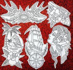 Traditional Tattoo Drawings, Traditional Tattoo Old School, Tattoo Sleeve Designs, Sleeve Tattoos, Nautical Sleeve, Neo Tattoo, Tattoo Coloring Book, Fantasy Tattoos, Old School Tattoo Designs