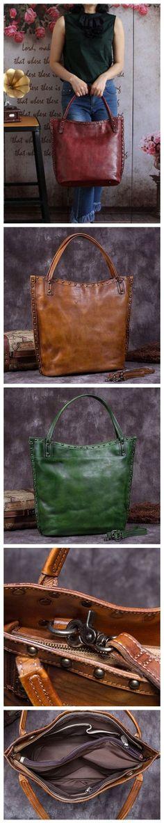 Handmade Full Grain Leather Women Tote Bag, Shopper Bag, Handbag A0050
