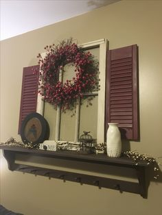 Set up a really easy accent piece for the family room. All together it costed about $25! Super cheap and easy. Window was from a neighbor, wreath we already had, shelf was from my room that was no longer needed, shutters were $5 from an online yard sale, and the rest of the accessories like the vase and the bird cage were from a local store here called missing piece. If you don't have a missing piece around you I'm sure hobby lobby has some great stuff. #homedecor #housedecor