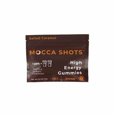 Mocca Shots Salted Caramel Chocolate Caffeine Gummy 12-pack Vitamin B Complex, Mocca, Salted Caramel Chocolate, High Energy, Natural Energy, Organic Coconut Oil, Caffeine, Herbal Medicine, Natural Flavors