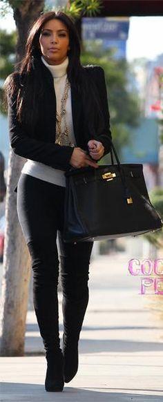 64 ideas for style kim kardashian casual high boots Look Fashion, Girl Fashion, Womens Fashion, Fashion Check, Fall Winter Outfits, Autumn Winter Fashion, Kim K Style, My Style, Kim Kardashian