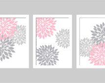 Pink and Grey Dahlia Wall Art Print - Choose Size and Colors - Nursery, Bathroom, Teen Bedroom, Girls Room