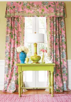 I like the cut of the valance. New Thibaut Biscayne collection - Featuring Tropical Fantasy in Pink - Available @ Maryland Paint & Decorating's Showroom Pink Curtains, Window Drapes, Curtains With Blinds, Window Coverings, Bedroom Windows, Custom Window Treatments, Interior Decorating, Interior Design, Passementerie