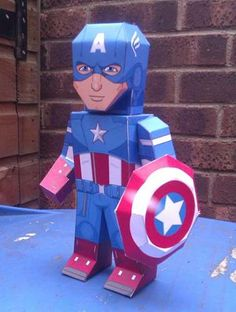 DIY My Paper Heroes: Marvels Avengers: Captain America Marvel Avengers Comics, Avengers Team, Superhero Classroom, Superhero Birthday Party, Capitan America Lego, Avengers Crafts, Paper Dolls Printable, Paper Crafts For Kids, Paper Toys
