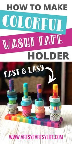 This is a great project to help with your craft room storage and organization (especially if you have a small craft room!) This washi tape holder is super functional and cute when painted with a rainbow of colors or any way your heart desires! Craft Room Decor, Craft Room Storage, Craft Organization, Storage Ideas, Diy Washi Tape Holder, Washi Tape Diy, Diy Home Supplies, Craft Supplies, Small Craft Rooms