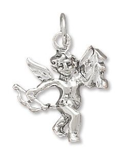 NOW ON SALE Sterling Silver Cupid Charm by jewelrymandave on Etsy, $15.79