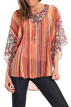 Amy Blouse In Coral Multicolor Print   http://www.beyondtherack.com/member/invite/B7C53751