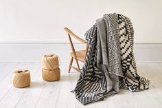 Woven monochrome throws on a vintage Ercol chair. Photographed by Yeshen Venema. Ercol Chair, Weaving Textiles, Jacquard Weave, Monochrome, Cushions, Blanket, Vintage, Design, Blankets