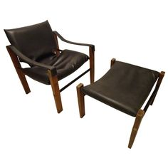 Safari Chair and Ottoman by Maurice Burke for Arkana | From a unique collection of antique and modern lounge chairs at https://www.1stdibs.com/furniture/seating/lounge-chairs/