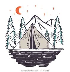 Find Hand Drawn Camping Tent Mountain Vector stock images in HD and millions of other royalty-free stock photos, illustrations and vectors in the Shutterstock collection. Thousands of new, high-quality pictures added every day. Camping Drawing, Badge Design, Tent Camping, Image Now, How To Draw Hands, Royalty Free Stock Photos, Vector Stock, Shutters, Drawings