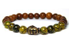 Mens Buddha Bracelet with Dragons Vein Agate