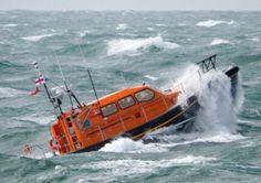 RNLB Prototype FCB2 (Shannon Class) lifeboat in rough seas off Portland Bill