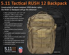 5.11 Backpack, Rush 12: Constructed of water-resistant 1050-denier nylon, the RUSH 12 Backpack will go the distance!