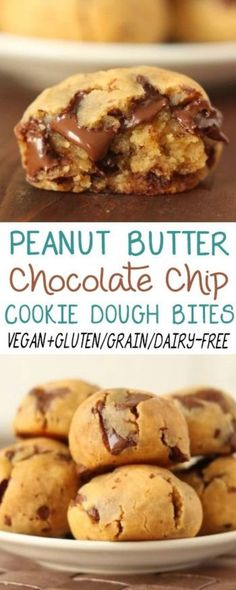Vegan peanut butter chocolate chip cookie dough bites.