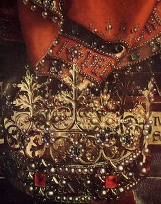 Jan van Eyck, Ghent Altarpiece, 1432 The crown which lies at the feet of the center figure.  The detail and depth perception is truly magnificent.