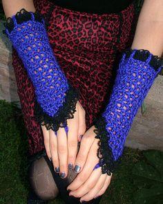 Gothic Purple Crocheted Gloves / Black Lace Trim