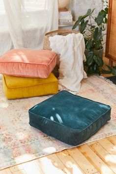 Shop Chloe Velvet Floor Pillow at Urban Outfitters today. Pillow Inspiration, Floor Seating, Living Room Flooring, My New Room, Bedroom Decor, Bedding Decor, Lounge, Interior Design, Home Decor