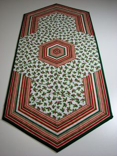 Quilted Table Runner , Christmas Table Runner , Holly and Ribbon Candy Stripes by VillageQuilts on Etsy