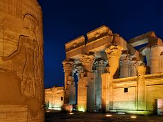 Pictures of Egypt National Geographic | Picture of the Temple of Haroeris and Sobek at night, Egypt