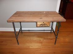 industrial desk with reclaimed wood and pipe by UrbanWoodGoods