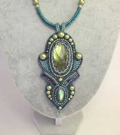 Bead Embroidery Pendent with Labradorite cabochon & Pearls Swarovski